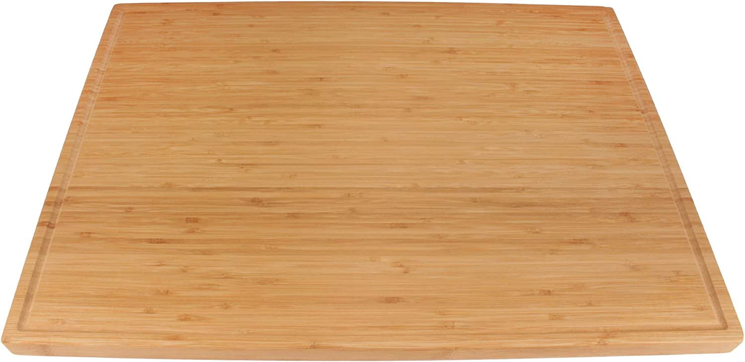 BambooMN Heavy Duty Premium Bamboo Cutting Board with Juice Groove - 24