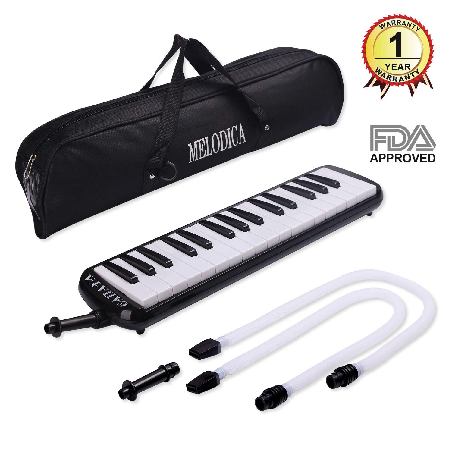 CAHAYA Melodica 32-Key Piano Style Portable Pianica with Plastic Flexible Long Pipe Short Mouthpiece and Carrying Bag for Music Lovers Beginners Kids - Black CY0050-1