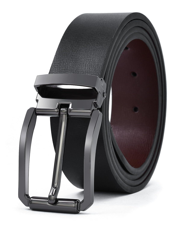 Mens Belt Reversible Leather Dress Belt Removable Buckle Beltt ROMANEE-CONTI