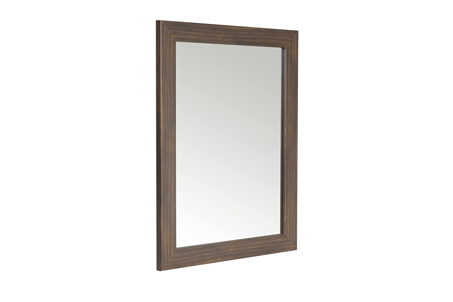 48 x 58cm Walnut Effect Framed Mirror with Wall Hanging Fixings