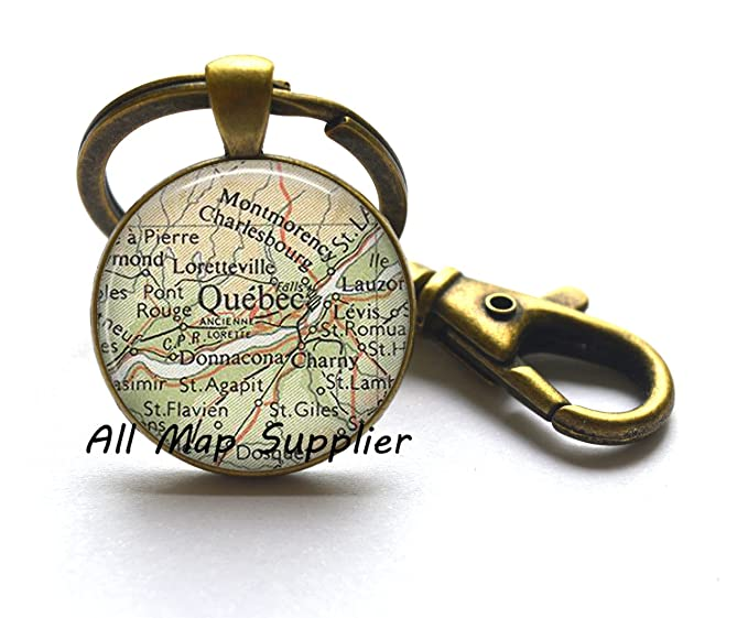 Encantador Llavero Llavero, diseño de mapa de Quebec, Quebec ...