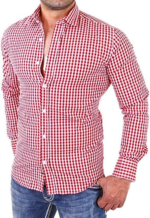 Hombres camisas de manga larga a cuadros Hombres camiseta slim fit business casual (M, rojo)