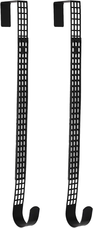 Haute Decor Hook & Lattice Adjustable Length Wreath Hanger, Matte Black (2)