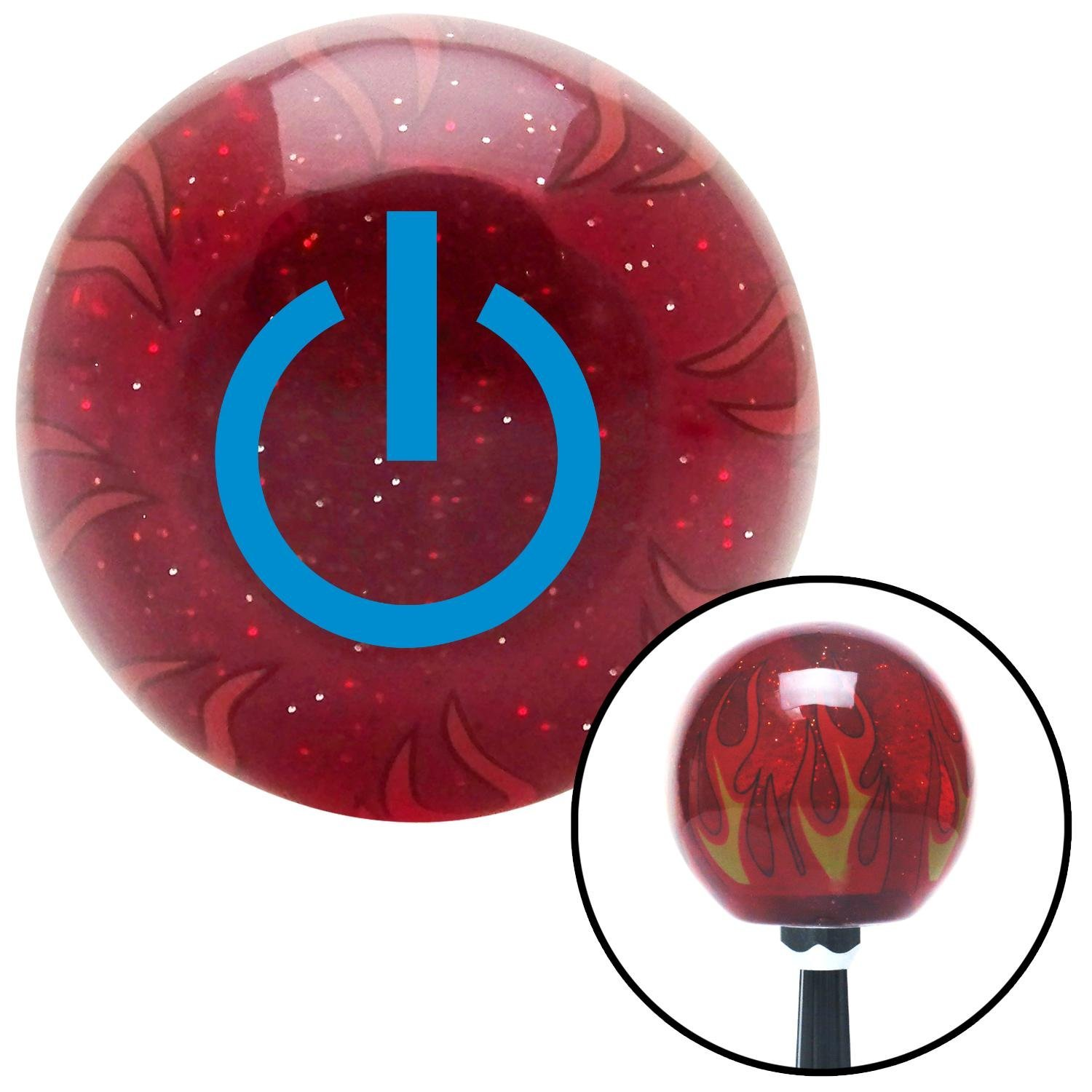 Blue Power American Shifter 239837 Red Flame Metal Flake Shift Knob with M16 x 1.5 Insert