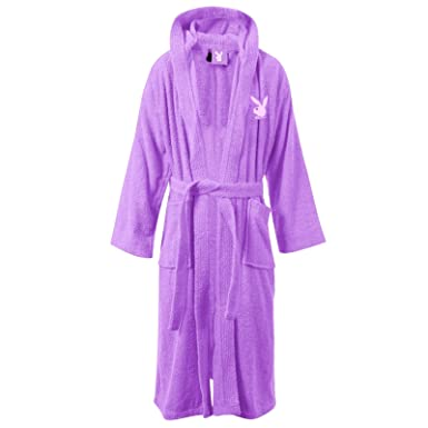 Playboy Bunny Womens Lilac Hooded Fleece Bathrobe Ladies Towelling ...