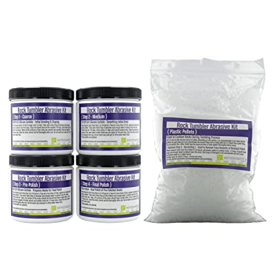 WireJewelry 4 Step Rock Tumbler Abrasive Grit and Polish Kit with Plastic Filler Pellets, 5 Batches: Kitchen & Dining