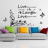 Walplus - Adesivo da parete rimovibile in vinile, motivo farfalle, ramo e scritta Live, Laugh, Love, colori misti