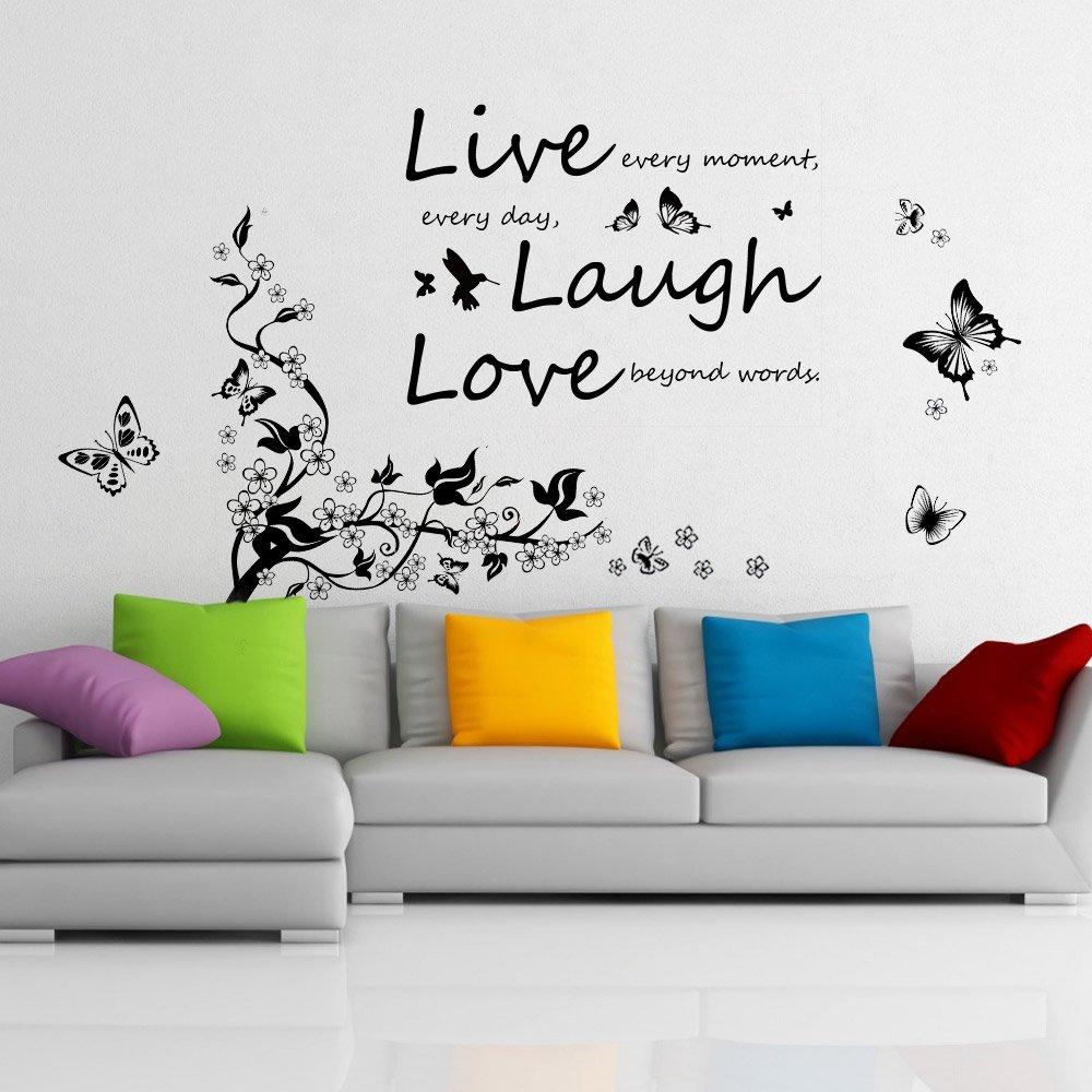 Walplus - Adesivo da parete rimovibile in vinile, motivo farfalle, ramo e scritta Live, Laugh, Love, colori misti 67-Z7DD-S9MO
