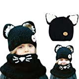 Cute Baby Cozy Scarf + Hat Set, Bonice Winter Autumn Warm Beanies Wool Shawls Hats Caps Kids Earflap Hood Hat Knit Scarf Gift for Boys Girls Toddlers - Khaki