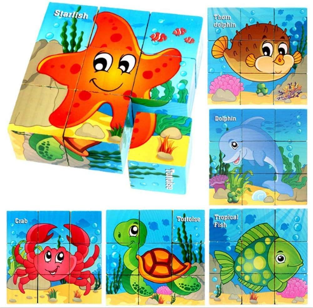 Afufu Rompecabezas de Madera, Animal Jigsaw 3D Cube Blocks Juguete, Juguete Educativo Montessori Regalos de Cumpleaños de Navidad para pequeños Bebés Niños Niñas 3 4 5 Años