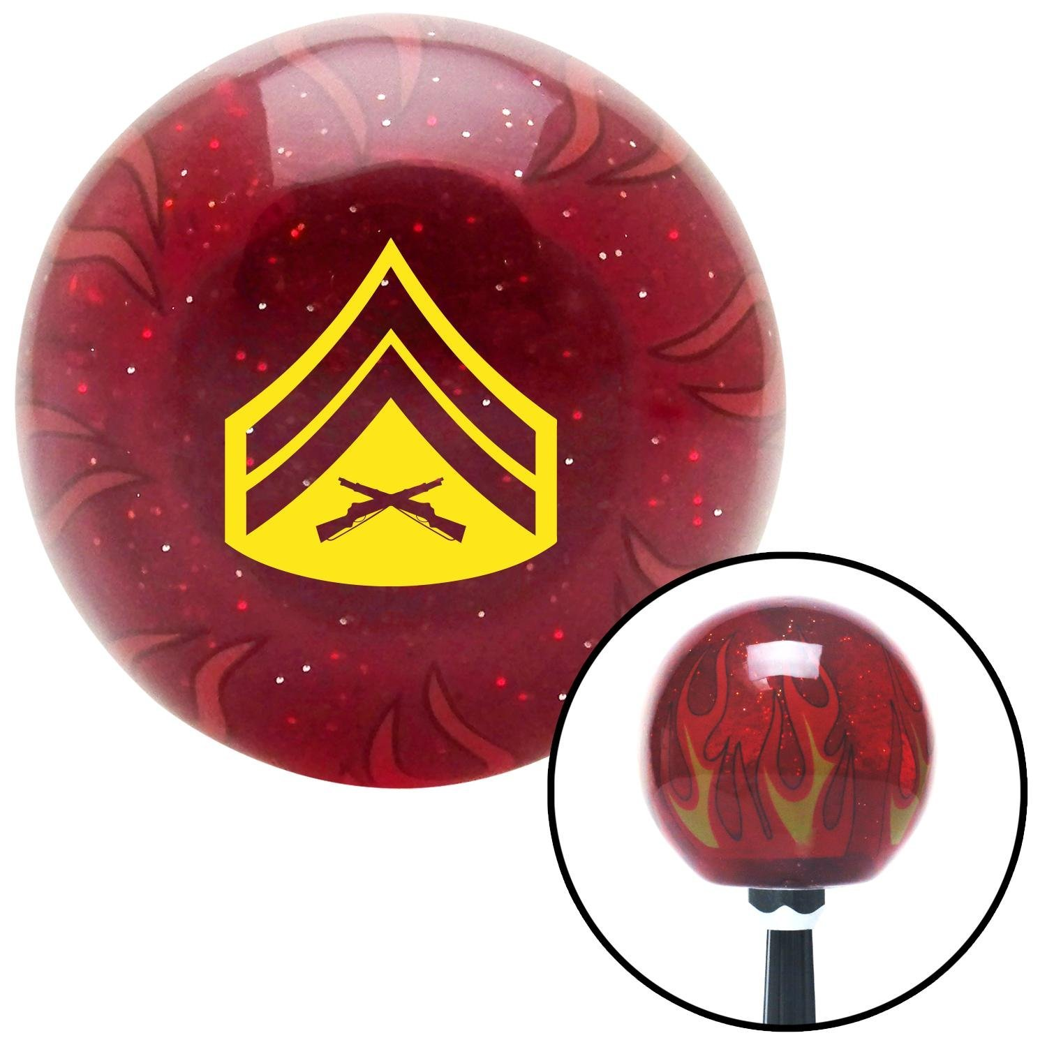 Yellow 03 Corporal American Shifter 241605 Red Flame Metal Flake Shift Knob with M16 x 1.5 Insert