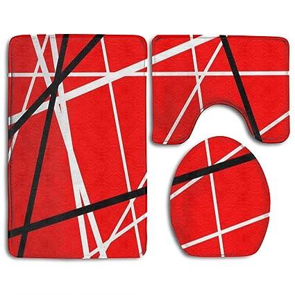 Amazoncom Iiorunjf Red With Black White Stripes Bathroom Rug Set