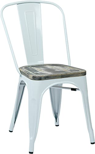 Office Star Bristow White Metal Frame Chair with Vintage Wood Seat, Ash Crazy Horse Finish, 2-Pack