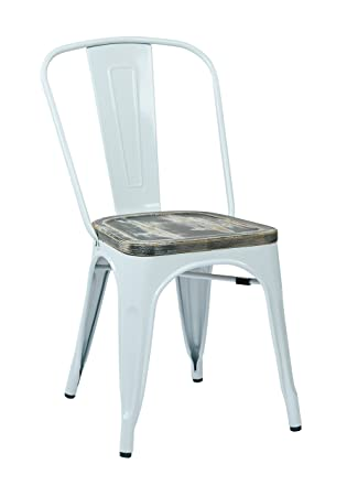 Office Star Bristow White Metal Frame Chair With Vintage Wood Seat, Ash  Crazy Horse Finish