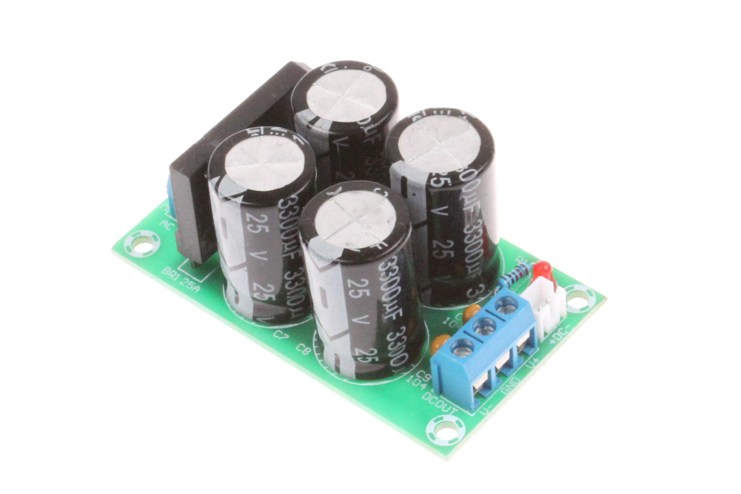 25A Dual Power Rectifier Filter Board AC 9-17V / DC ± 12-24V Power Amplifier Power Supply Rectifier Board Suitable for LM1875 TDA2030 TDA7294 LM3886 and Other Medium-Low Power Amplifier