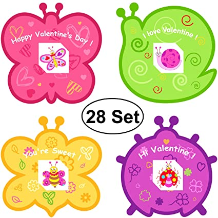PIXNOR Card for Kids 28PCS , Classmates – 28 Cute Cards Set with Envelopes & Butterfly