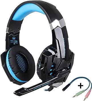 KOTION EACH G9000 -Auriculares de Diadema Cerrados con Micrófono Auricular Estéreo con Micrófono para PC, PS4, MAC y Móvil con Luz LED(Negro y azul): Amazon.es: Electrónica