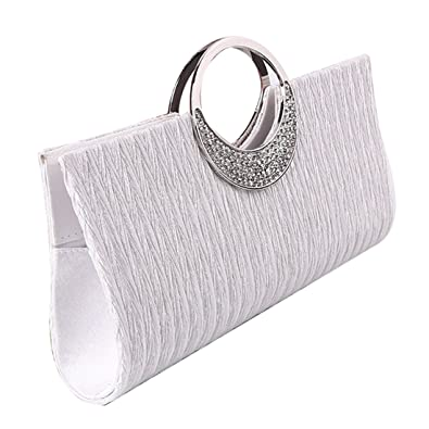 SSMK Evening Bag - Cartera de mano para mujer, color blanco, talla Talla Unica: Amazon.es: Zapatos y complementos