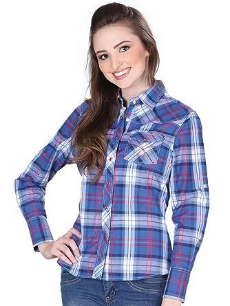 Camisa Vaquera Dama (Blusa) L/Sleeve (CLD) El General Royal Blue ID 33907