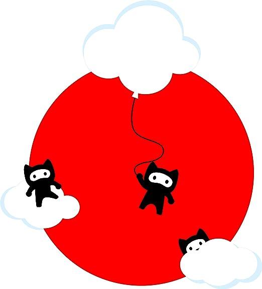 Amazon.com: Cute Adorable Kawaii Ninja Kitty Cats On Clouds ...