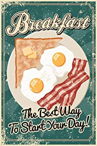 Breakfast The Best Way to Start The Day Vintage Cool Wall Decor Art Print Poster 24x36
