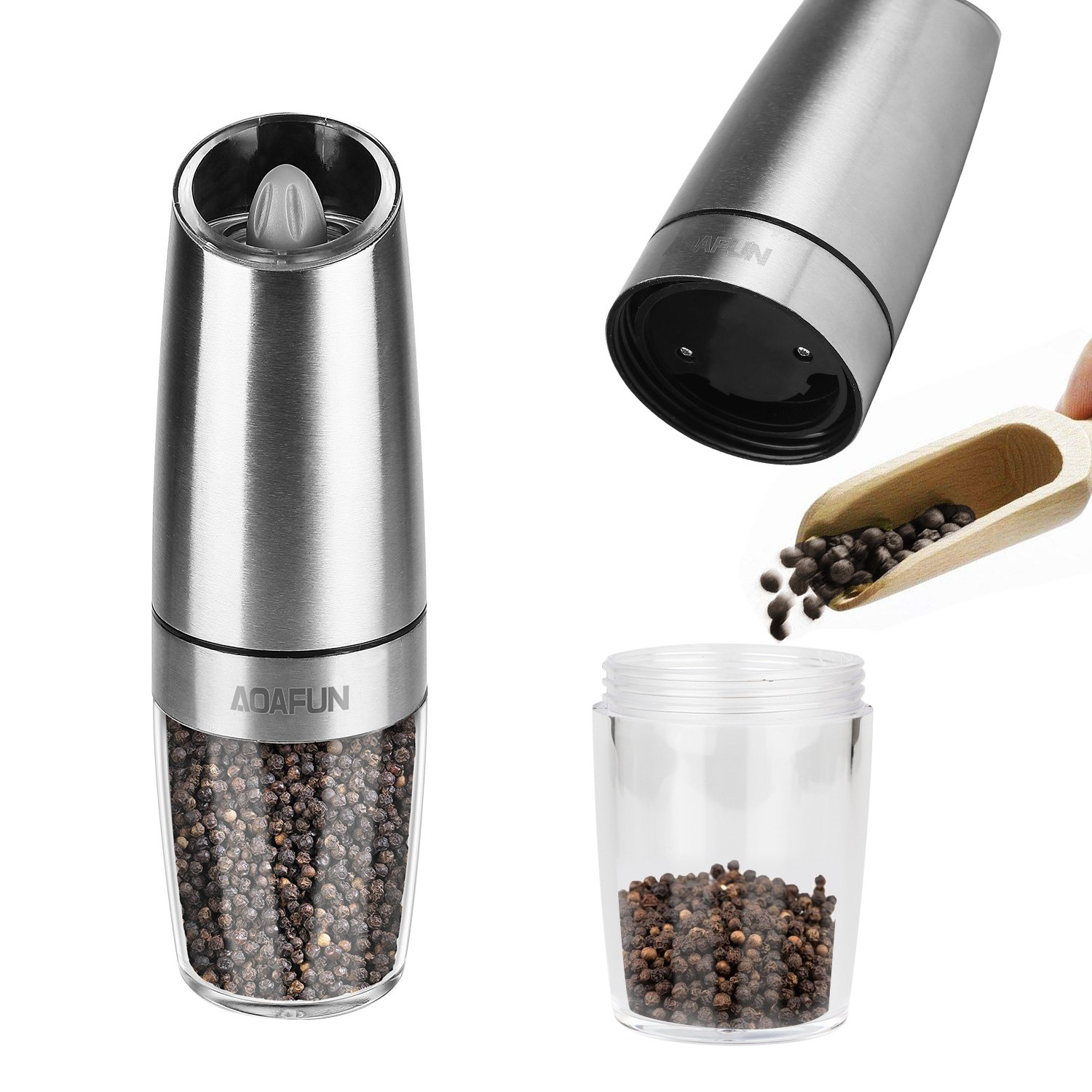 Amazon.com: AOAFUN Electric Salt and Pepper Grinder Mill Set of 2,Battery Operated with LED Light, Adjustable Coarseness,Stainless Steel Body: Home & ...