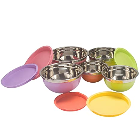 Amazoncom Mixing Bowls Sauran 5 Piece Multicolor Stainless Steel