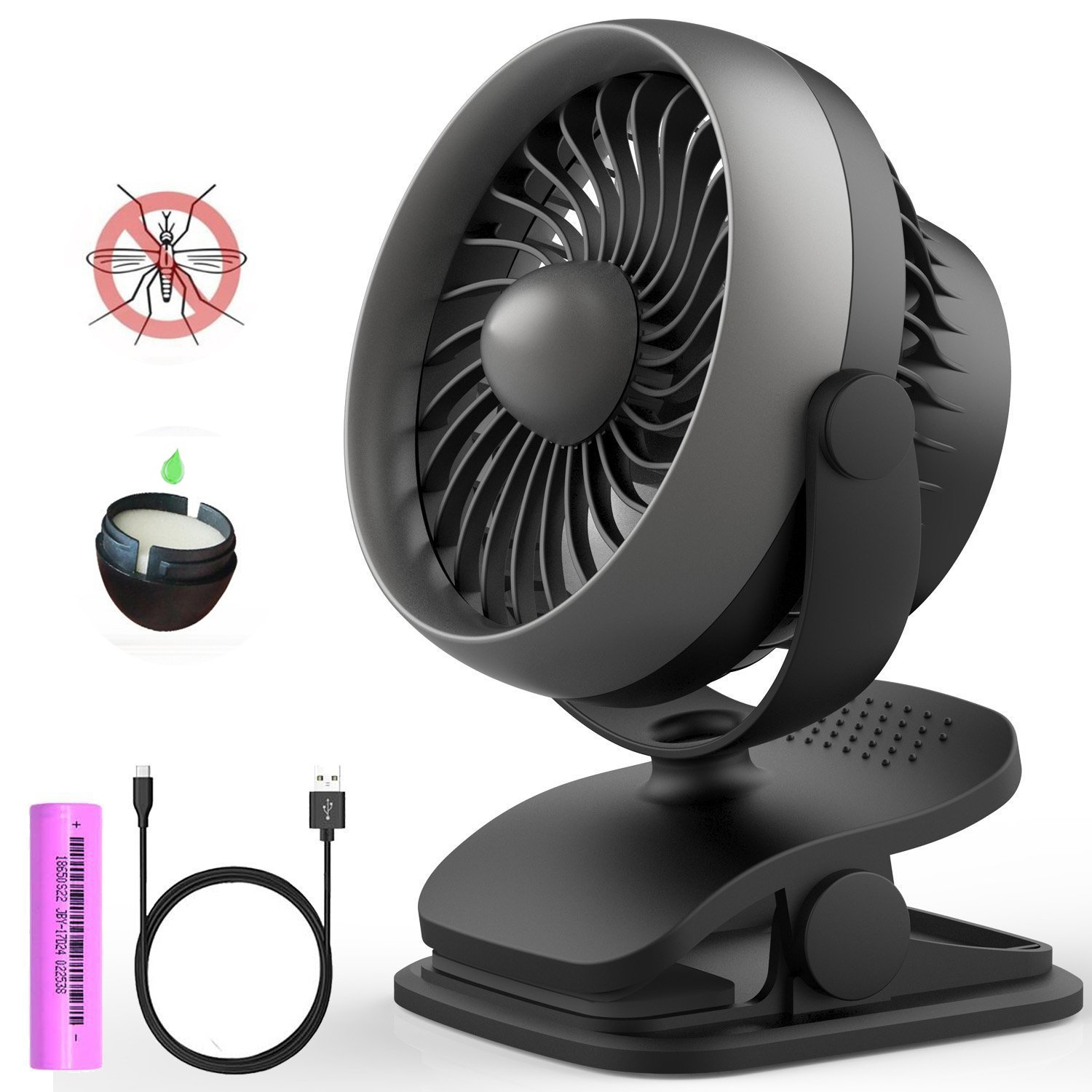 Clip on Fan, Portable Rechargeable Battery Operated Fan Small Desk Fan for Table, Office, Camping, Dorm, Baby Stroller by Anglink