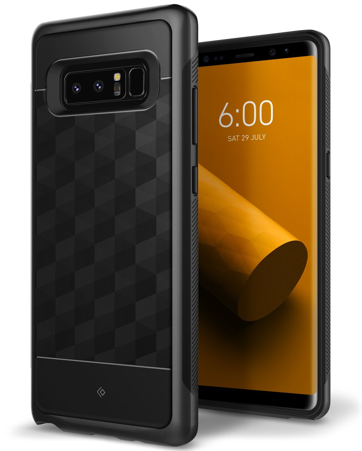 Galaxy Note 8 Case, Caseology [Parallax Series] Slim Protective Dual Layer Textured Cover Secure Grip Geometric Design Samsung Galaxy Note 8 (2017) - Black by Caseology