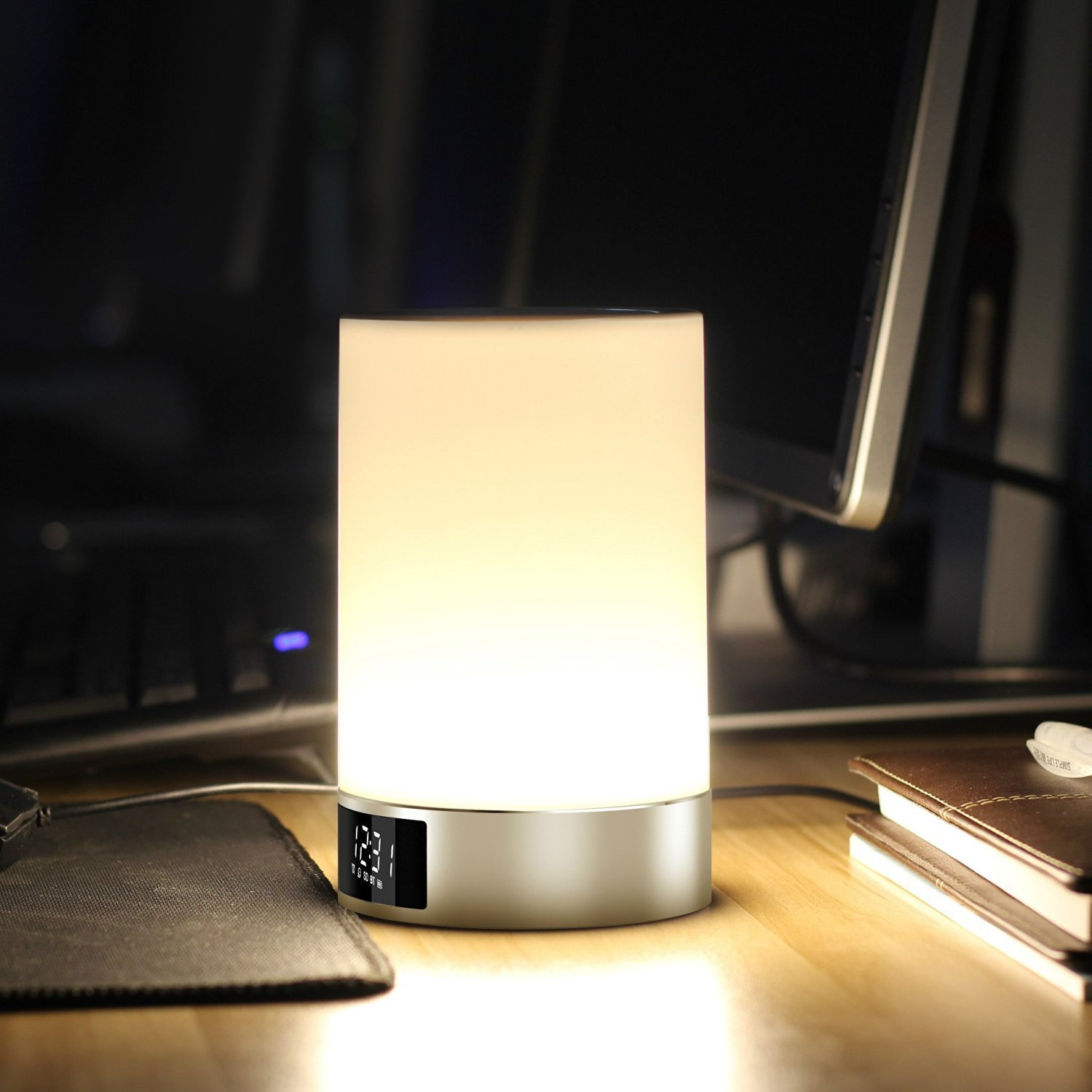 Mabor bedside lamp touch sensor table lamp multicolor dimmable mabor bedside lamp touch sensor table lamp multicolor dimmable night light with bluetooth speaker alarm clock tf card slot hands free timing geotapseo Choice Image