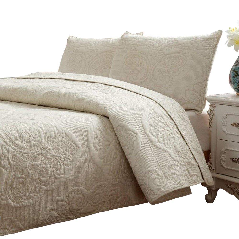 Brandream White Beige Vintage Floral Comforter Set Queen Size Bed Quilt Set