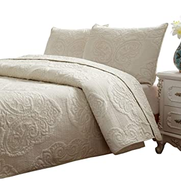 Brandream White Beige Vintage Floral Comforter Set Queen Size Bed Quilt Set