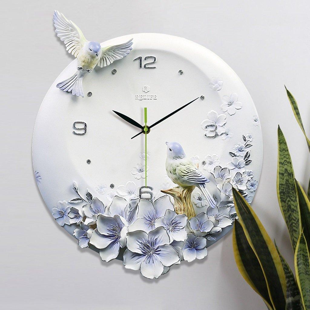 フー彫刻装飾3次元救済ウォールクロックリビングルームモダンミニマリストクリエイティブ家庭時計ミュートクォーツ時計 (色 : A) B07DGDW93P A A