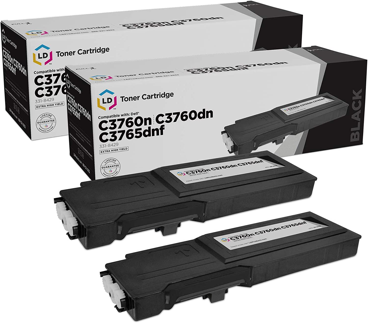 LD Compatible Toner Cartridge Replacement for Dell 331-8429 W8D60 Extra High Yield (Black, 2-Pack)