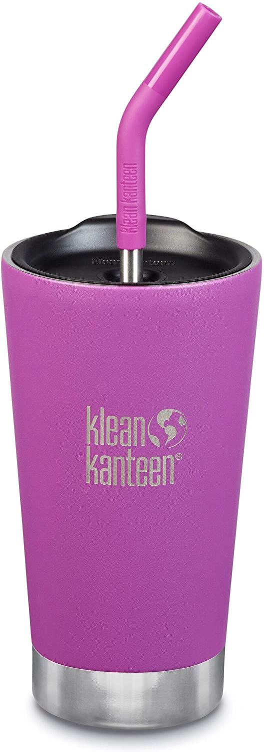 Klean Kanteen Stainless Steel Double Wall Vacuum Insulated Tumbler Cup with Straw Lid, 16-Ounce, Berry Bright