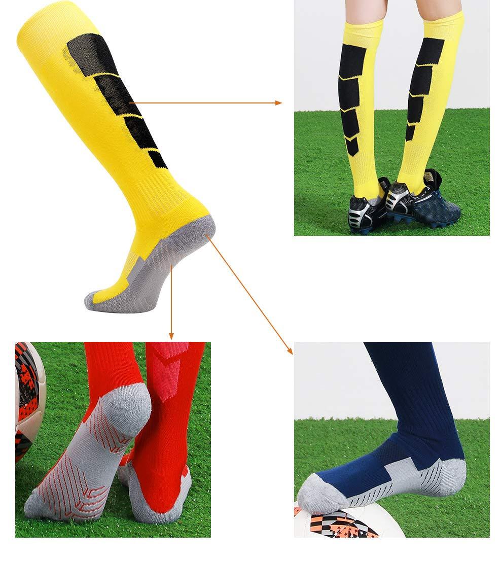 25fe6f58e8d Football Chaussettes Knee-high Socks Mens Non-slip Sweat-absorbent  Breathable Long Tube Sports Socks Towel Bottom Adult ...