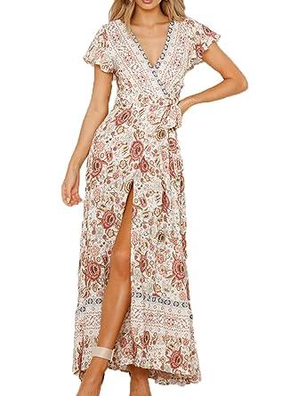 e53bb0703f Alieyaes Women's Dresses Bohemian High Split V Neck Short Sleeve Ethnic  Style Wrap Beach Maxi Dress