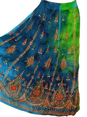 49043ae9b00 Dancers World ltd Ladies Indian Boho Hippie Gypsy Sequin Summer Sundress Maxi  Skirt M (M3)  Amazon.co.uk  Clothing