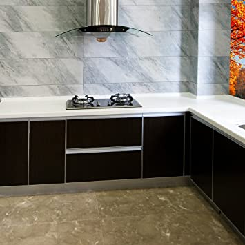 KINLO Folie Küche Schwarz 61x500cm Aus Hochwertigem PVC Aufkleber Für  Schrank Tapeten Küche Klebefolie Möbel Wasserfest