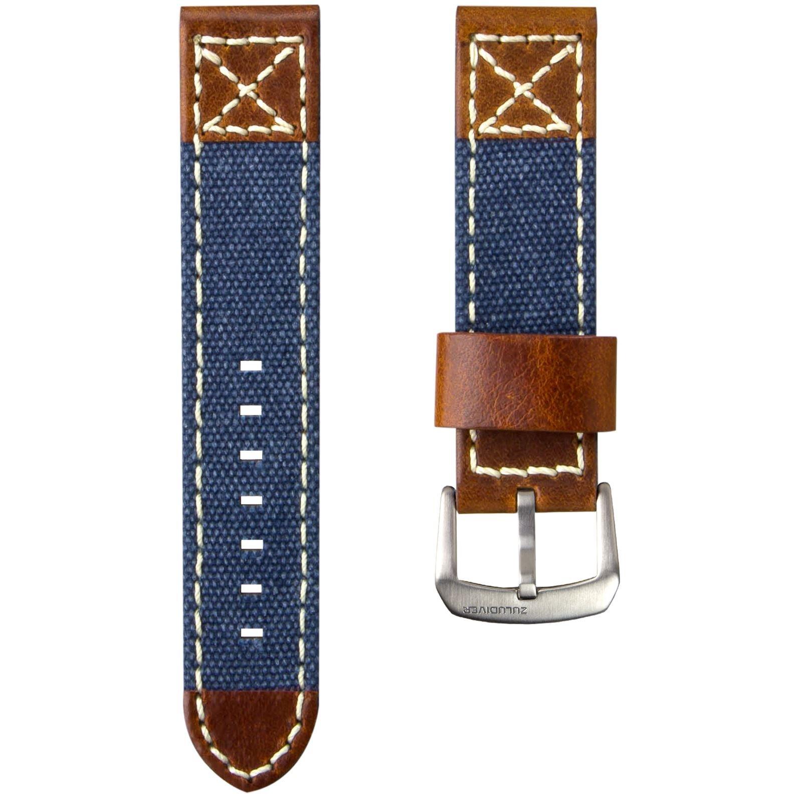 ZULUDIVER Canvas & Italian Leather Watch Strap, Navy Blue & Vintage Brown, 22mm