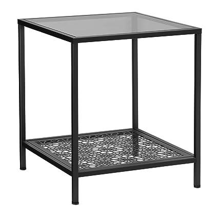 Songmics Table D Appoint Avec Plateau En Verre Trempe Table Basse Etagere A Motif Fleurs Bout De Canape Sgs Test Stable Decoration Pour Salon