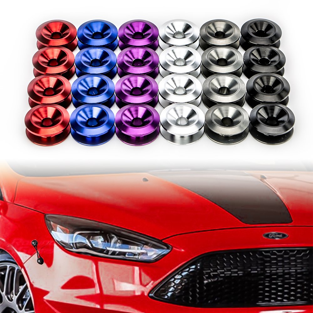 JDM Bumper Quick Release Fasteners For Car Bumpers, Trunk Fender and Hatch Lids O-Rings x 4 (Black) Ai3C