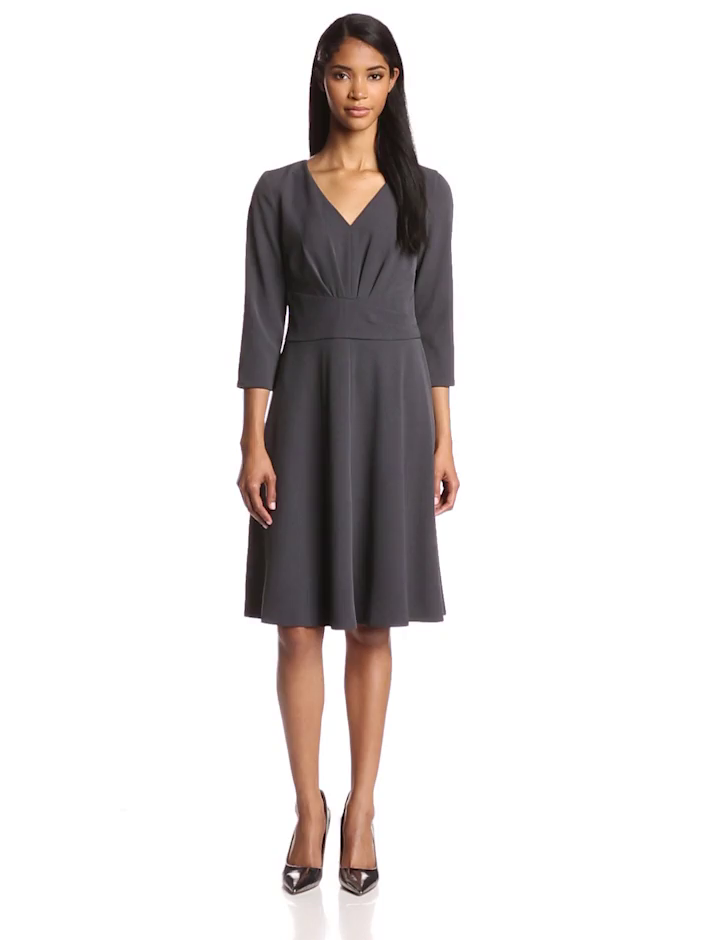 Anne Klein Women's 3/4 Sleeve Wrap Fit and Flare Dress, Charcoal, 2