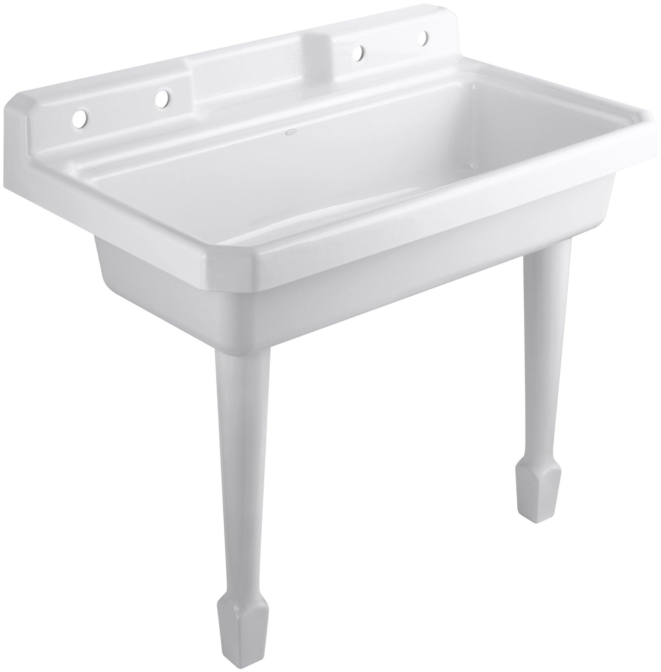 KOHLER K-6607-4-0 Harborview Self-Rimming or Wall-Mount Utility Sink, White