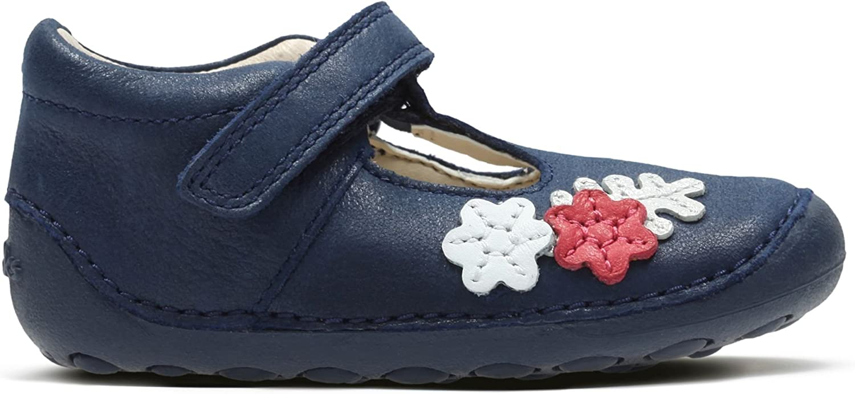 Clarks Tiny Blossom, Sandales Bout fermé Fille Bleu Blue Leather