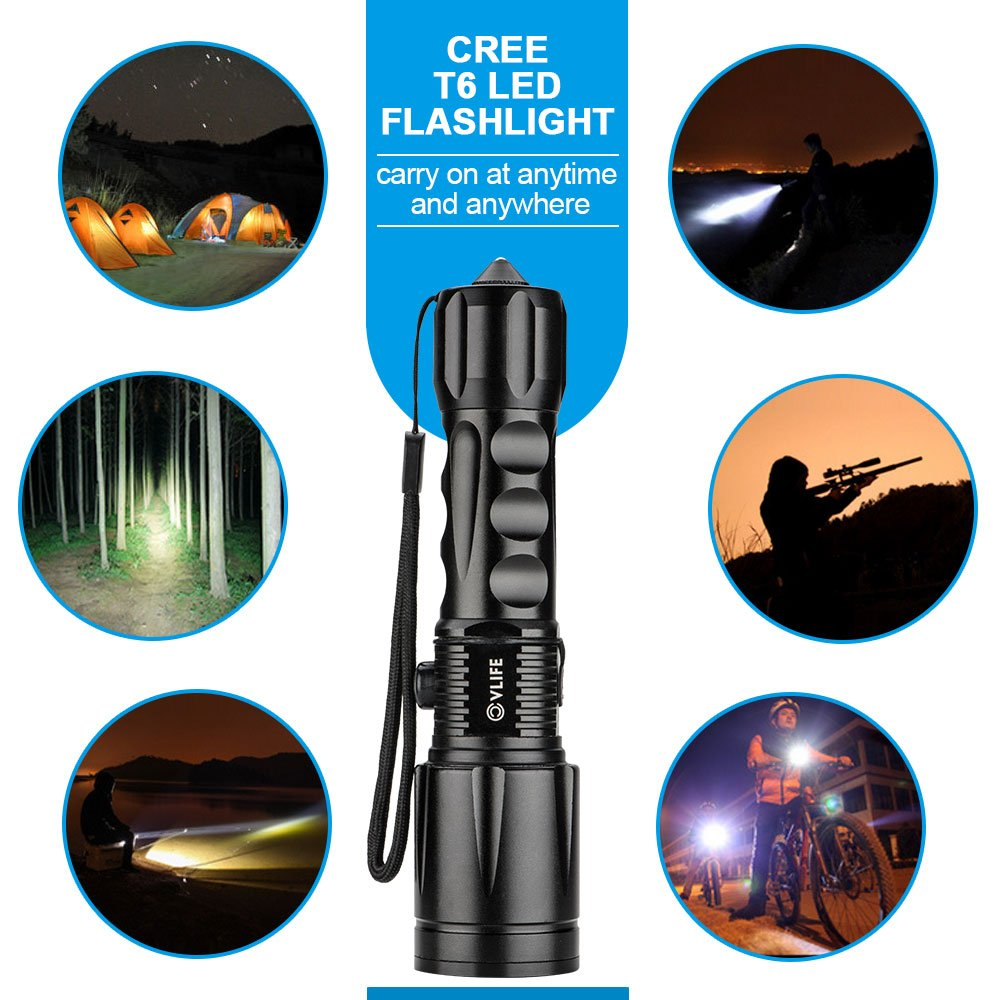 CVLIFE 800Lm Zoomable CREE T6 LED Flashlight Torch Free 18650 /& 2 Chargers