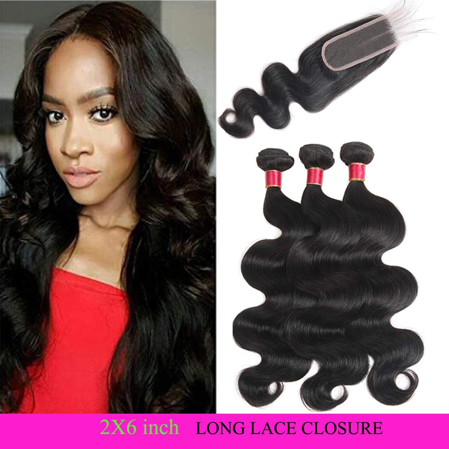 10A Brazilian Virgin Hair Body Wave 3 Bundles with Closure 3 Part Human Hair Bundles with Closure 8 Inch Human Hair Extensions Natural Color 50g/pcs 8 8 8 with 8 Three Part Lace Closure Fine Plus