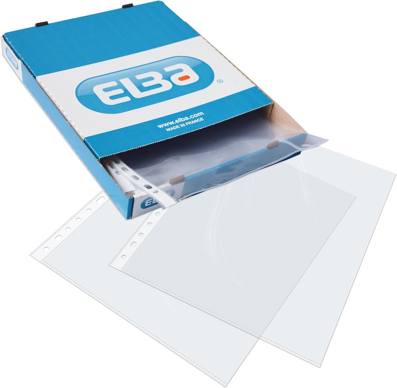 Elba 400005366 - Caja de 100 fundas polipropileno multitaladro, Fº
