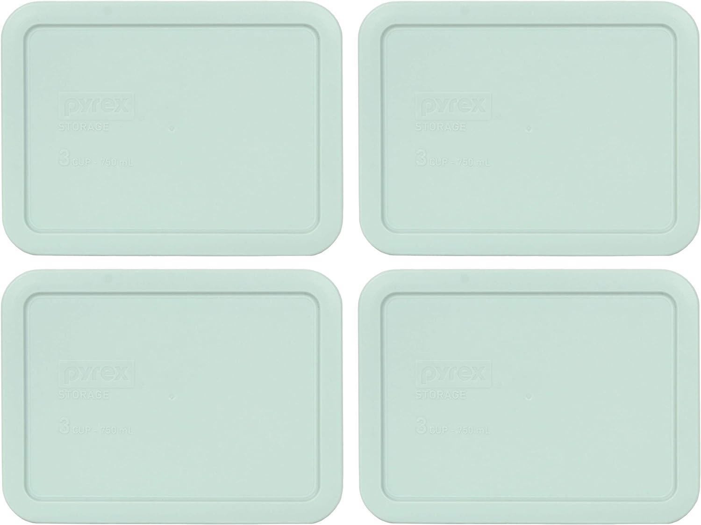 Pyrex 7210-PC 3 Cup Muddy Aqua Rectangle Plastic Food Storage Lid - 4 Pack