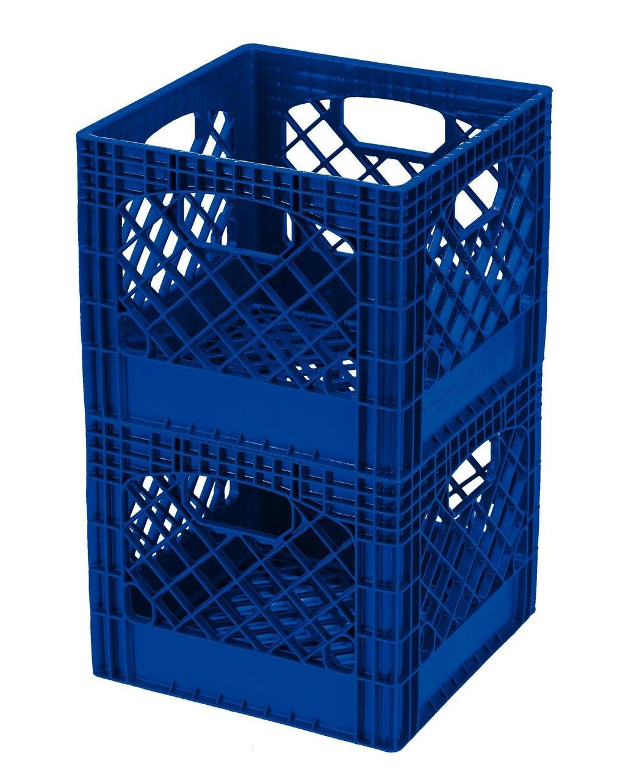 Buddeez MC01016B281C Milk Crates, 16-Quart, Blue, 2-Pack